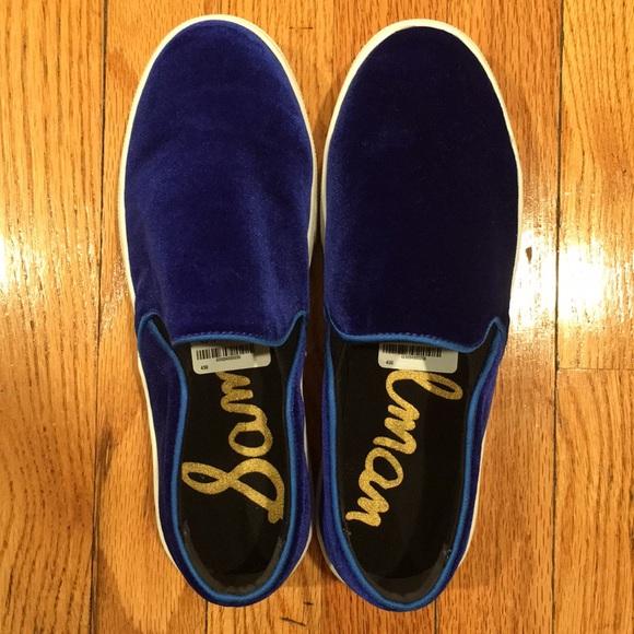 e199d87f0117 Sam Edelman Bright Blue Velvet Slip On Sneaker